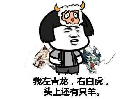 我左青龙右白虎 头上还有一只小绵羊 i 污力表情包图片