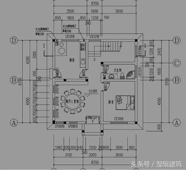 一层平面设计图:厨房,餐厅(堂前),卫生间,卧室
