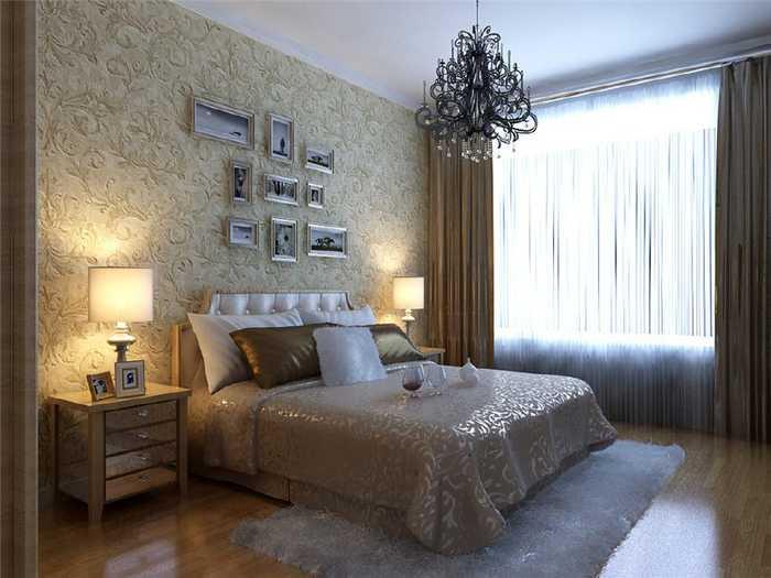 卧室的床头用硅藻泥做装饰,即浪漫又温馨.