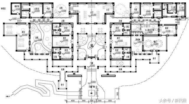 另外其他的四合院设计图多半采用红柱子,黄色琉璃瓦等热闹的色调,想要