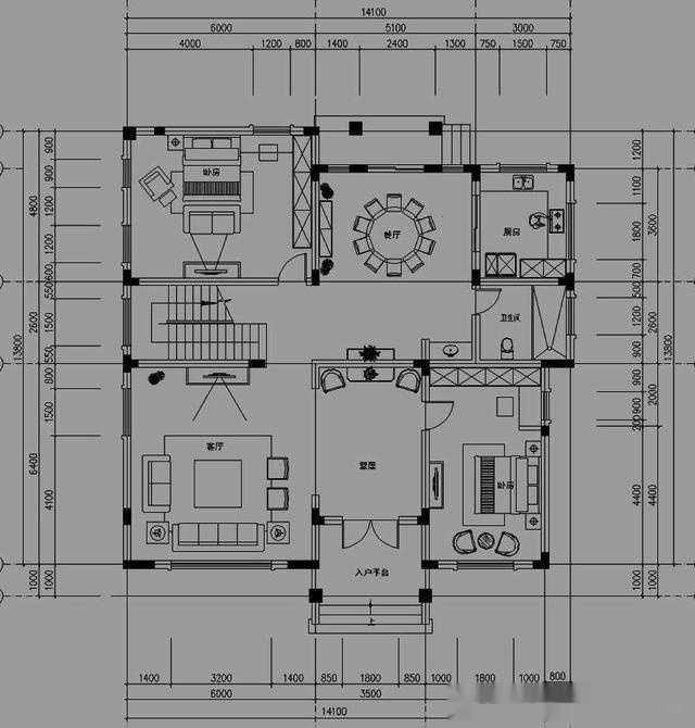 15x13米坡屋面三层农村房屋设计图,35万打造图片