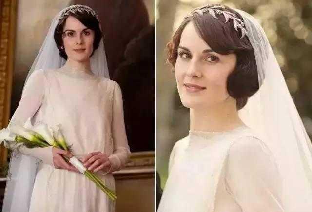 婚礼发型也是个不错的示范,斜刘海可以修饰脸型,适合温婉可人的新娘.图片