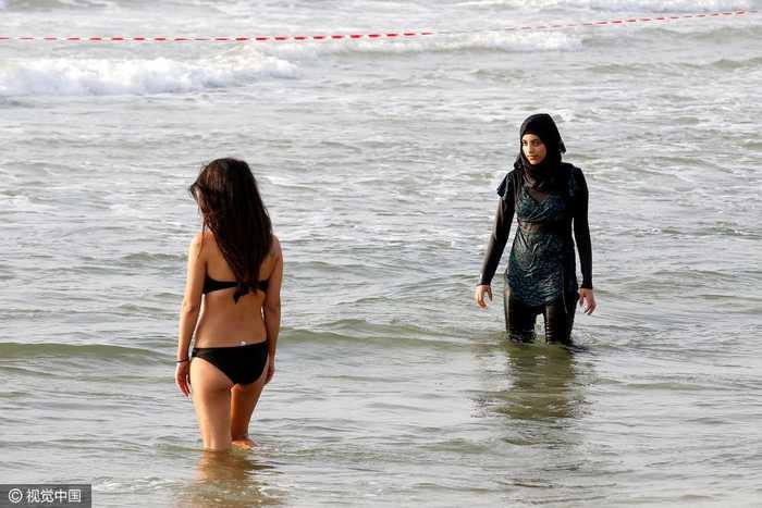 以色列:穆斯林美女穿布基尼海滩v美女,与比基尼动态争艳图图美女妇女艳图片