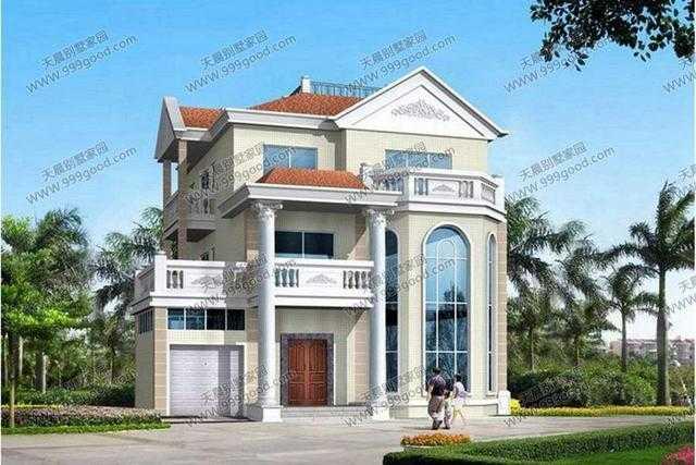 别墅效果图: 别墅一层平面图:入口玄关,客厅,餐厅,厨房,客房,卫生间