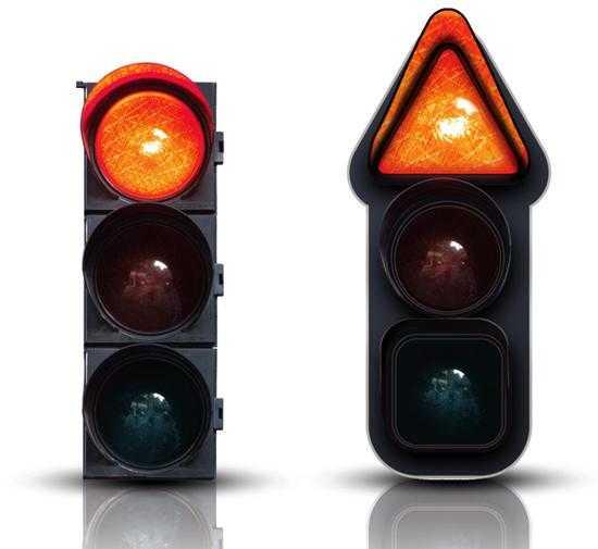 红灯为三角形,在人们的印象里,三角形一般常用于警示;黄灯为圆形;绿灯