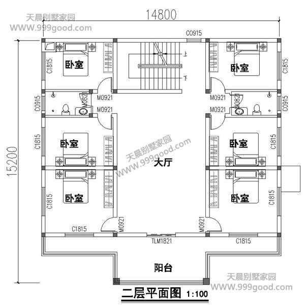 8x15.2米农村三层别墅设计图,可以当农家乐的别墅!
