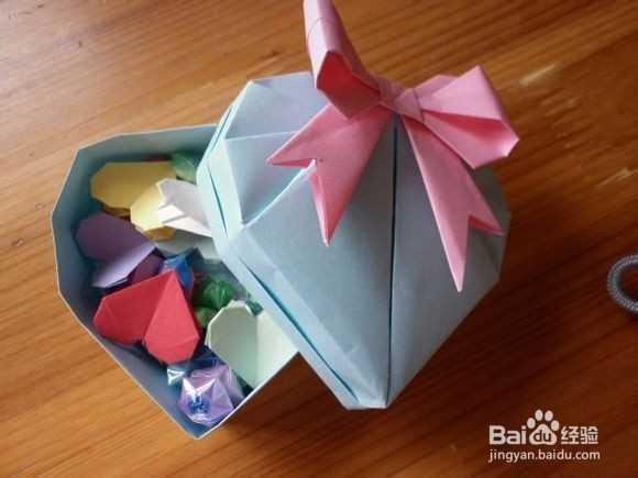 帯蝴蝶结的折纸心形盒子折法图解-好看