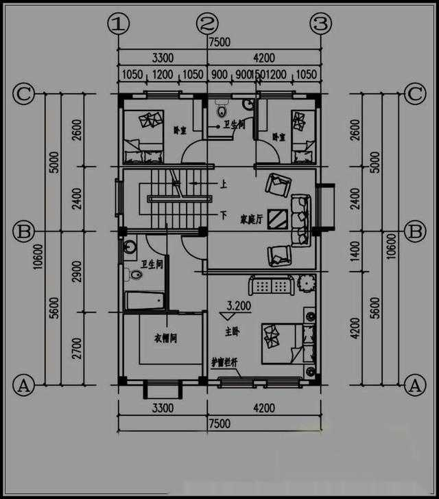 主要经济技术指标:开间*进深:7.5*10.6占地面积:79.图片