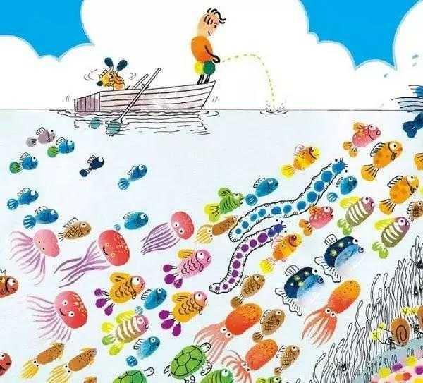 幼儿园亲子手工之指印画,用手指涂鸦画出动物,人物,卡通,植物