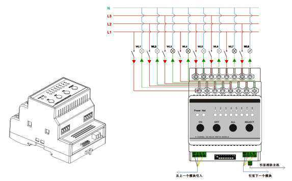 4,8路智能照明开关模块,采用泰科双触点继电器,含8路智能继电器,每个