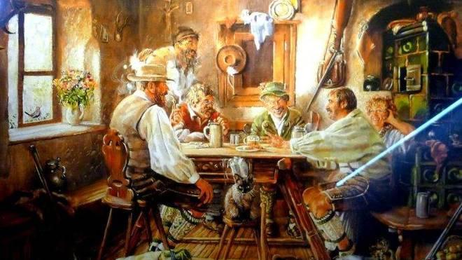 进去后餐厅的墙上贴着很多德国民俗画,这一幅就描述了德国人在小酒