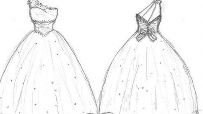 婚纱铅笔画图片大全 婚纱画画图片简笔画